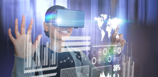 Composite image of smiling woman gesturing while wearing black virtual reality glasses stock illustration