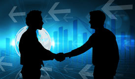 Composite image of smiling young businessmen shaking hands in office Stock Images
