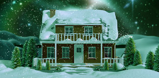 Composite image of snow. Snow against bridge on snow covered mountain against full moon royalty free illustration