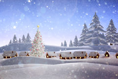 Composite image of snow covered village Royalty Free Stock Photo