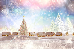 Composite image of snow covered village Stock Images
