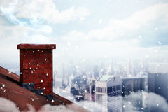 Composite image of snow. 3D Snow against city skyline Royalty Free Stock Photography