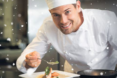 Composite image of snow falling. Snow falling against smiling male chef garnishing food in kitchen Royalty Free Stock Photography