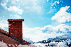 Composite image of snow falling. 3D Snow falling against city with harbour Royalty Free Stock Photography