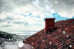 Composite image of snow falling. 3D Snow falling against landscape of city and cloudy sky Royalty Free Stock Photo