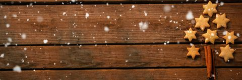 Composite image of snow falling Stock Photo