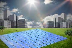 Composite image of solar panels. Solar panels against cityscape on the horizon stock illustration