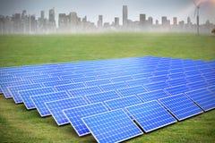 Composite image of solar panels. Solar panels against cityscape on the horizon vector illustration