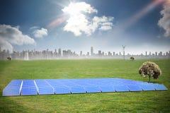 Composite image of solar panels. Solar panels against cityscape on the horizon royalty free illustration
