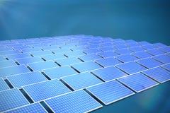 Composite image of solar panels. Solar panels against dark blue background royalty free illustration