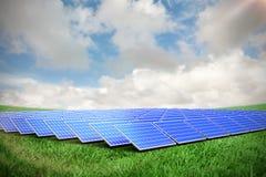 Composite image of solar panels. Solar panels against green field under blue sky royalty free illustration