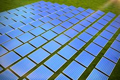 Composite image of solar panels. Solar panels against landscape with trees against sky vector illustration