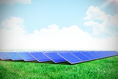 Composite image of solar panels. Solar panels against scenic view of grassy field royalty free illustration