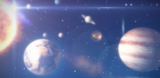 Composite image of solar system against white background 3d Stock Photos
