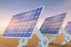 Composite image of sources of renewable energy equipment. Sources of renewable energy equipment against desert scene royalty free stock images