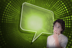 Composite image of speech bubble and casual thinking man Royalty Free Stock Images