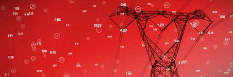 Composite image of sphere of icons and numbers. Sphere of icons and numbers against the evening electricity pylon silhouette stock illustration