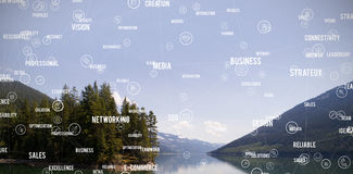 Composite image of sphere of icons and words Royalty Free Stock Images