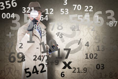 Composite image of spy looking through magnifier Stock Photography