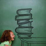 Composite image of stack of books doodle Royalty Free Stock Images