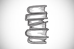 Composite image of stack of books doodle Royalty Free Stock Photo