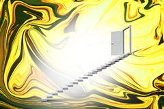 Composite image of stairs leading to door. Stairs leading to door against painting Royalty Free Stock Images