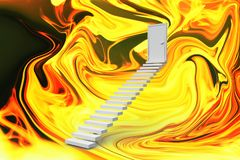 Composite image of stairs leading to door. Stairs leading to door against painting Royalty Free Stock Photography