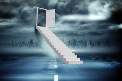 Composite image of stairs leading to door Royalty Free Stock Images