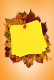 Composite image of sticky note with red pushpin Stock Images