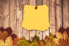 Composite image of sticky note with red pushpin Stock Photo