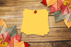 Composite image of sticky note with red pushpin Royalty Free Stock Photography