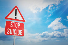 Composite image of stop suicide. Stop suicide against blue sky Stock Images