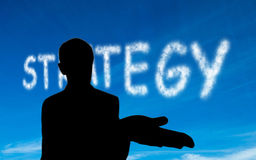 Composite image of strategy written in white in sky Stock Photo