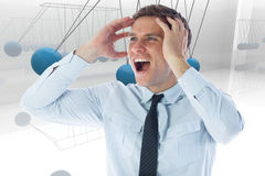 Composite image of stressed businessman shouting Stock Images