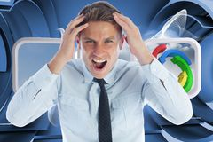 Composite image of stressed businessman shouting Royalty Free Stock Photo