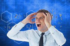 Composite image of stressed businessman shouting. Stressed businessman shouting against abstract technology background Royalty Free Stock Photos