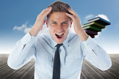 Composite image of stressed businessman shouting Royalty Free Stock Photos