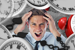 Composite image of stressed businessman shouting Stock Photos