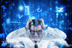 Composite image of stressed businessman touching his head Stock Photography