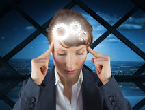 Composite image of stressed businesswoman Stock Photography