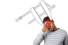 Composite image of stressed man with hand on his forehead Royalty Free Stock Photography