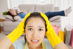 Composite image of stressed out woman Royalty Free Stock Image
