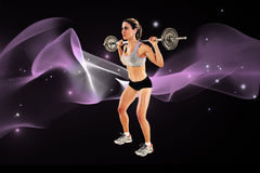 Composite image of strong female crossfitter lifting barbell behind head Royalty Free Stock Photography