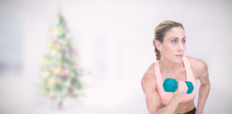 Composite image of strong woman doing bicep curl with blue dumbbell. Strong woman doing bicep curl with blue dumbbell against blurry christmas tree in room Royalty Free Stock Photo