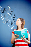Composite image of student reading book in library Stock Photography