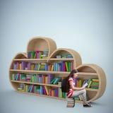 Composite image of student reading book in library. Student reading book in library against purple vignette vector illustration