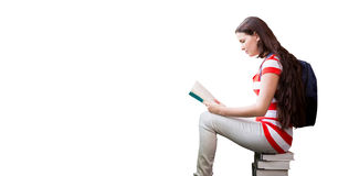 Composite image of student reading book in library Stock Images