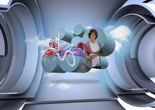 Composite image of student with tablet on abstract screen Stock Photography