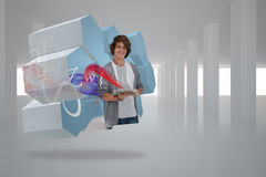 Composite image of student with tablet on abstract screen Stock Image