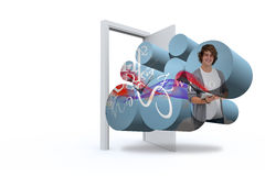 Composite image of student with tablet on abstract screen Royalty Free Stock Images